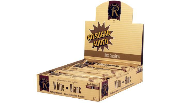 White Chocolate No Sugar Added Bars by Ross Chocolates