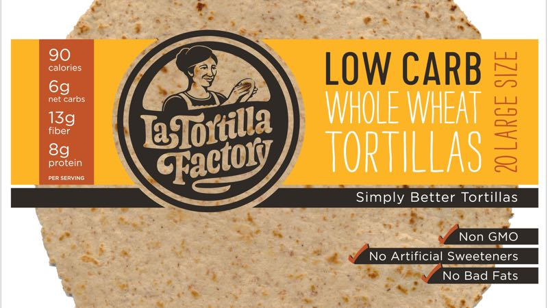 LaTortilla Factory Low-Carb Whole Wheat Large Tortillas 20 ct