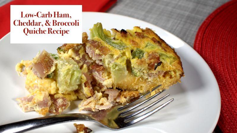 Low-Carb Ham, Cheddar, and Broccoli Quiche Recipe