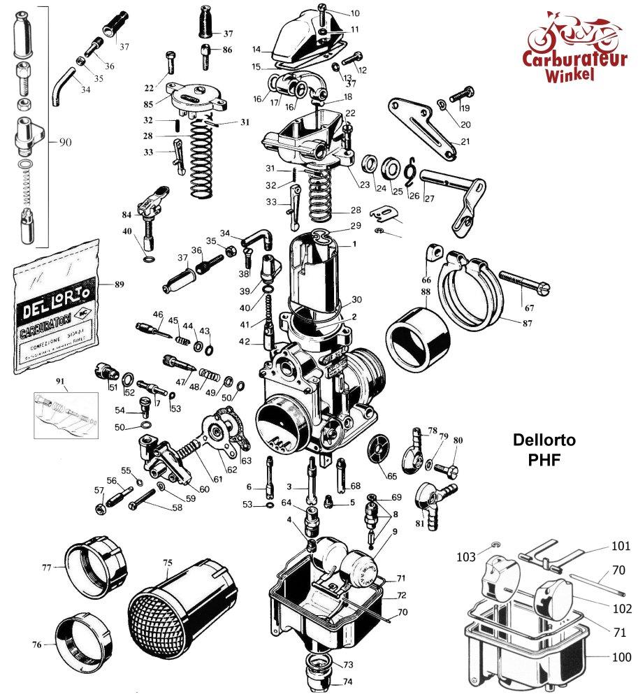 Dellorto PHF Carburateur Onderdelen