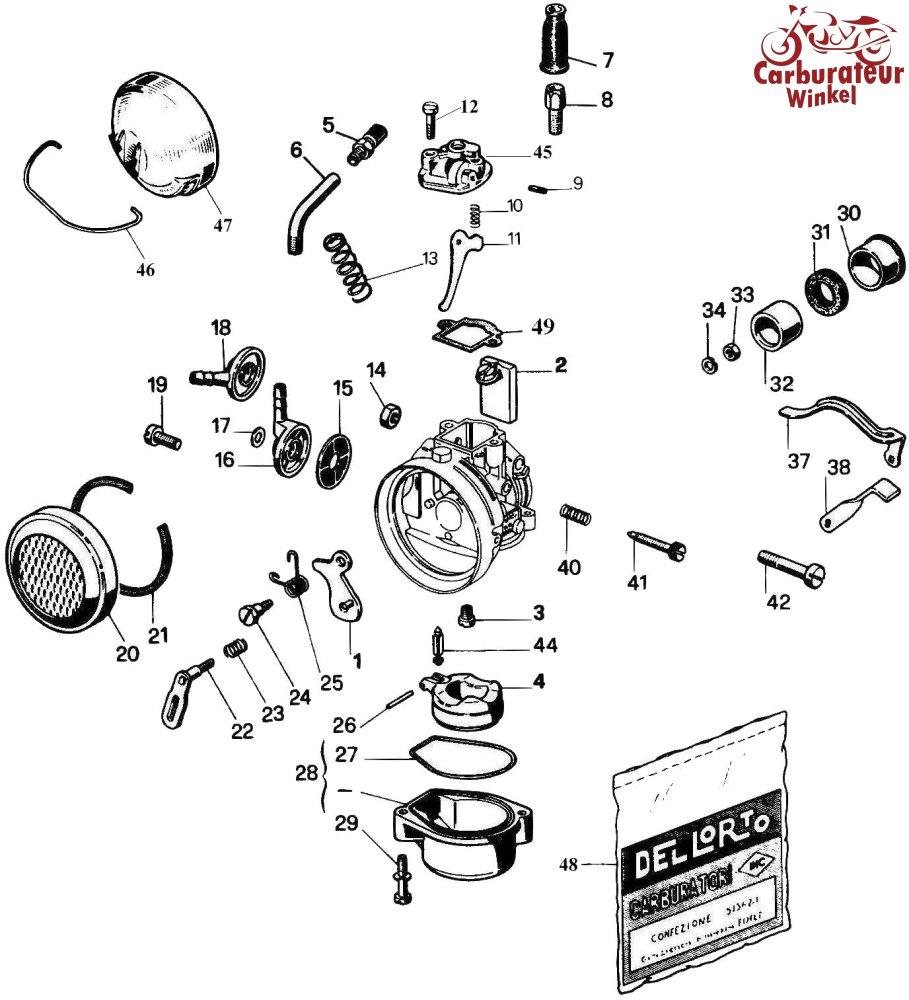 Dellorto SHA14, SHA15 en SHA16 Carburateur Onderdelen