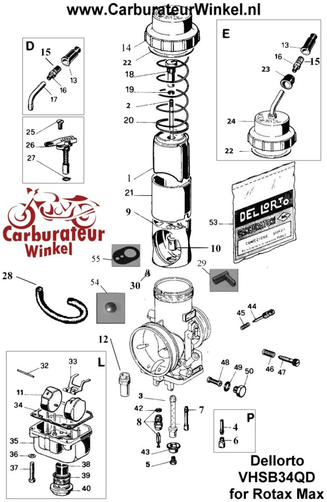 Dellorto VHSB34QD Rotax Max Parts