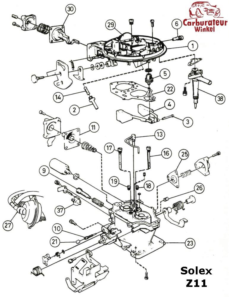 Solex Z11 carburateur onderdelen en revisiesets