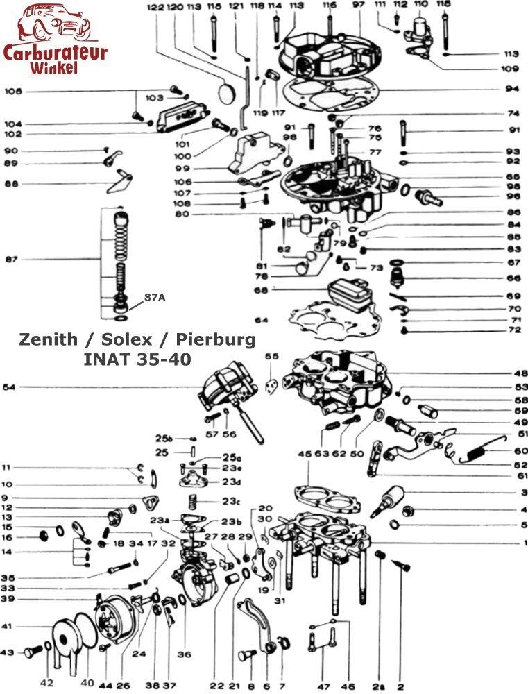 Zenith INAT Carburateur Onderdelen