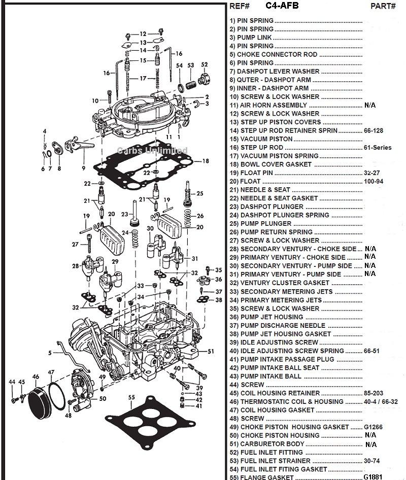 carter afb 4 barrel carburetor diagram