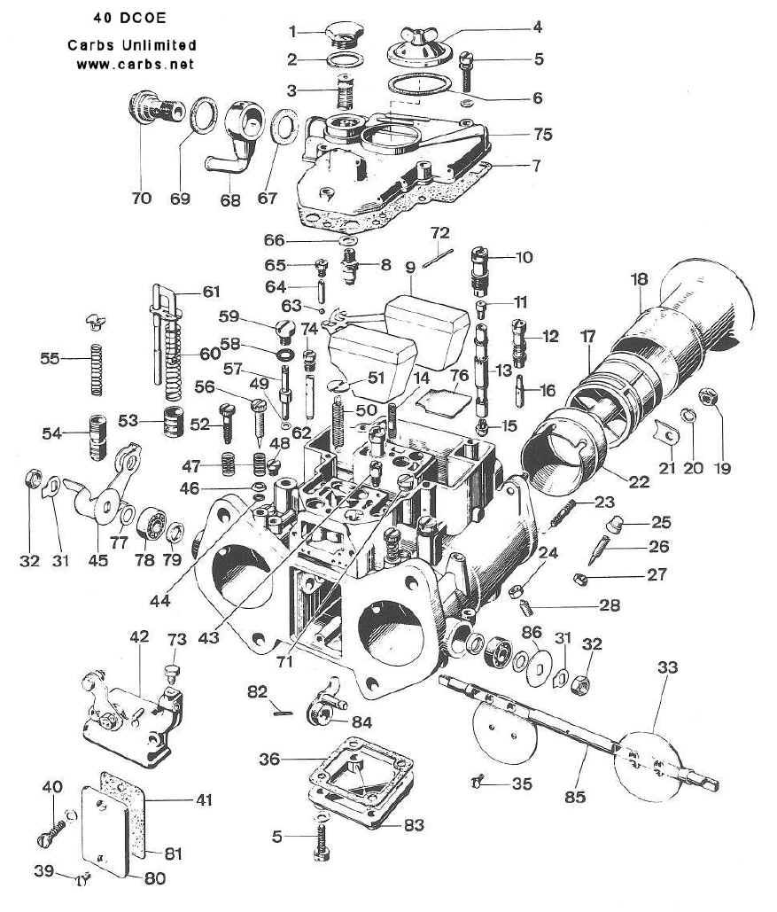 Weber 40 DCOE 151 Diagram