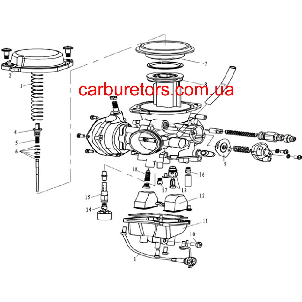 Carburetor Mikuni BSR 36-89, manual choke cable