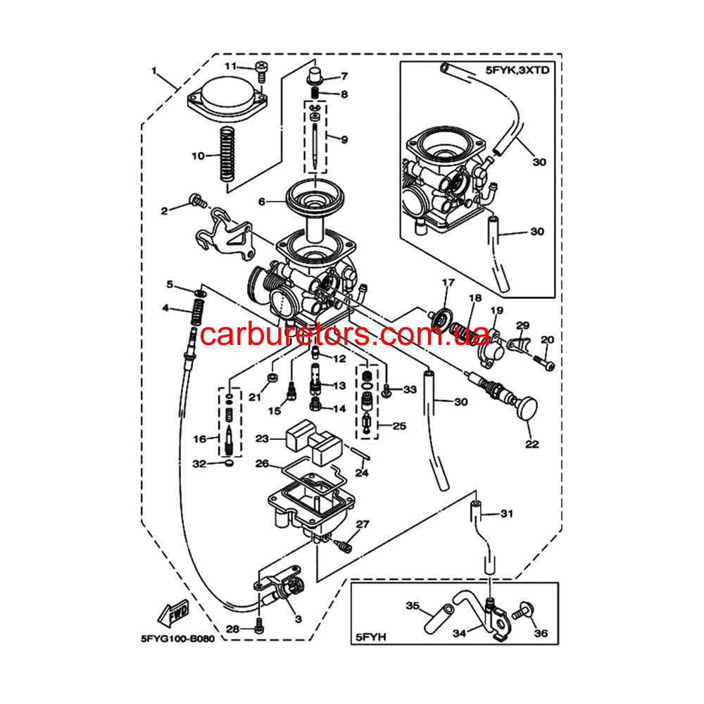 Carburetor Teikei MV 28, manual choke plunger