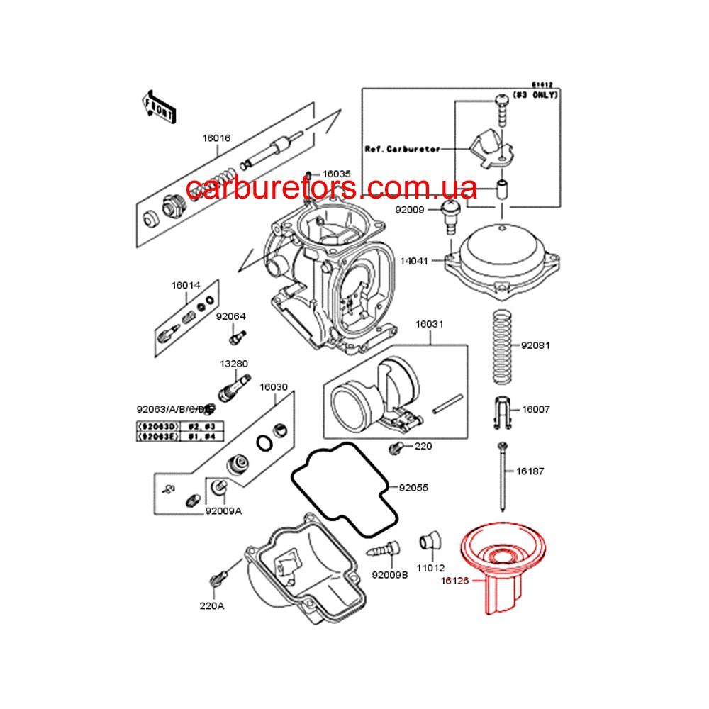 Keihin CVK 32 carburetor valve, main membrane, vacuum