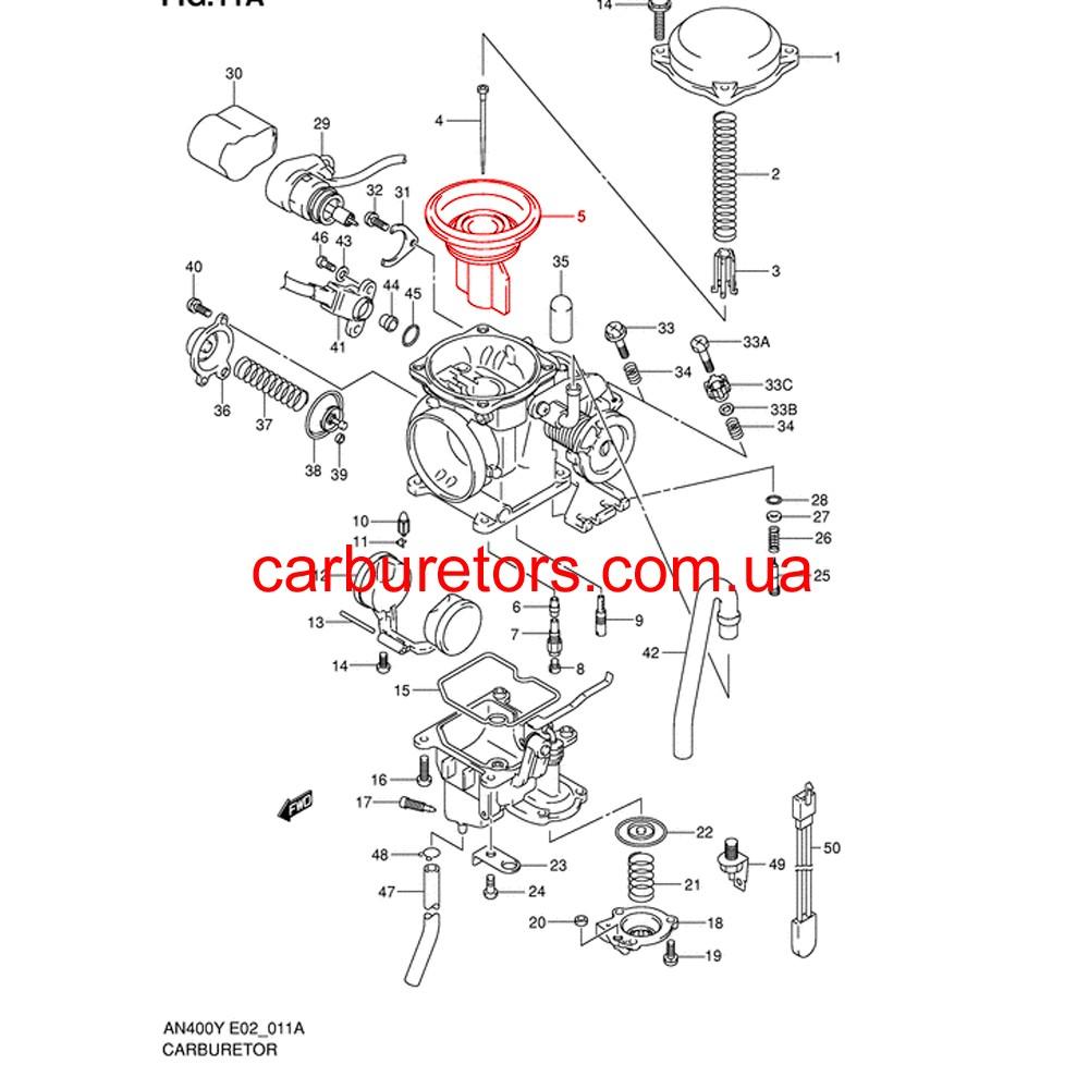 Keihin CVK 36 carburetor valve, main membrane, vacuum