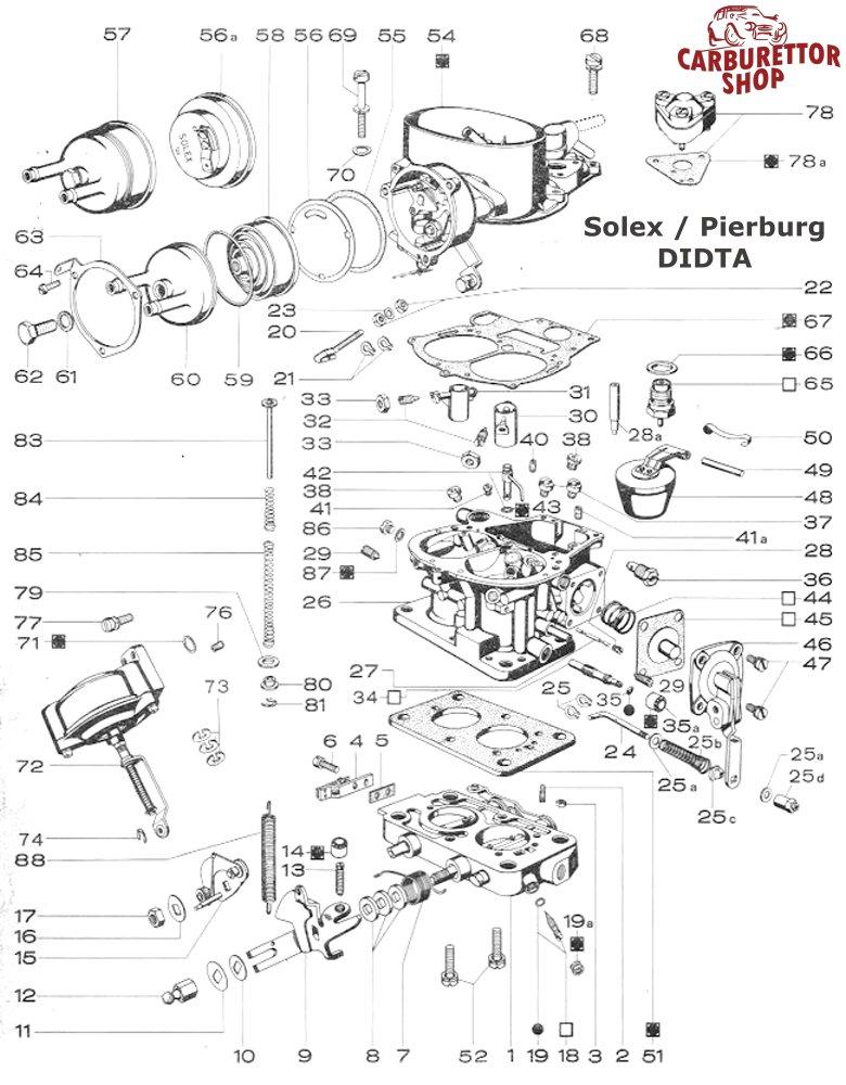 Service Kit for Solex Mikuni 28/32 DIDTA carburetors for
