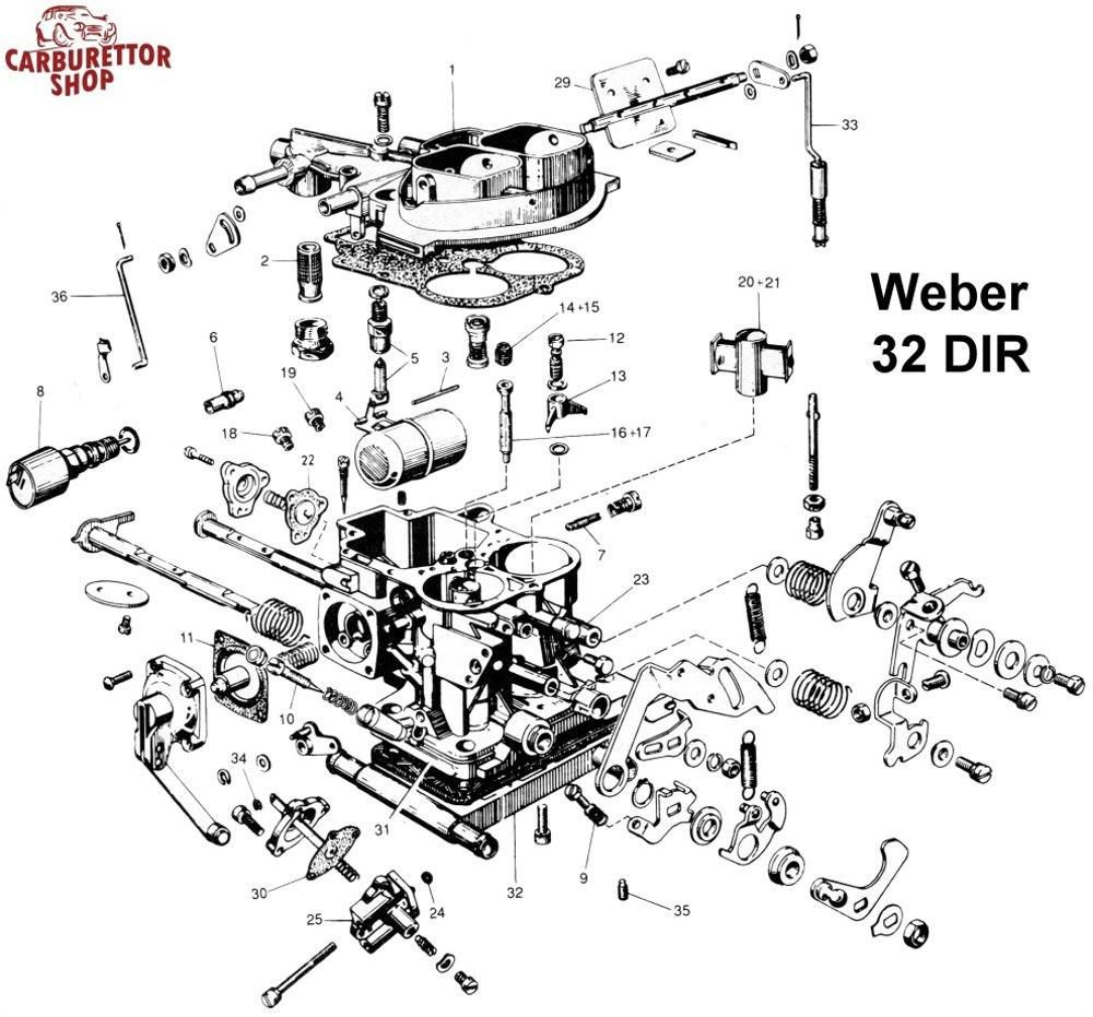 Weber DIR Carburetor Parts