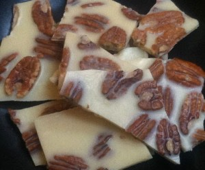 PECAN BARK MADE WITH CACOA BUTTER AND NUT BUTTER