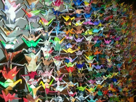 Origami cranes hanging in Deirdre Durant's home