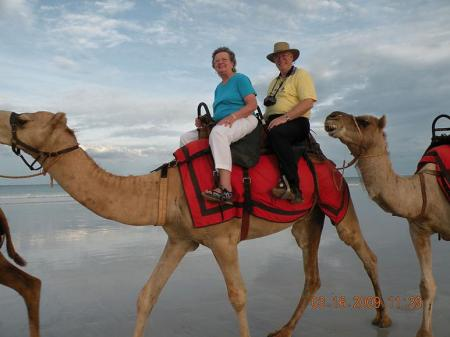"""Sunny Susan"" Anderson and her husband, Howard, on camelback in Australia"