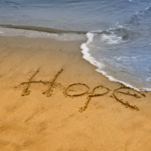 Hope, in sand