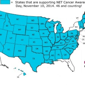 NET Cancer Day proclamation map, 46 states, Nov 8, 2014