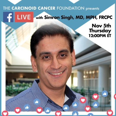 CCF Facebook LIVE Announcement Lunch with Experts Simron Singh, MD, MPH, FRCPC Nov 5