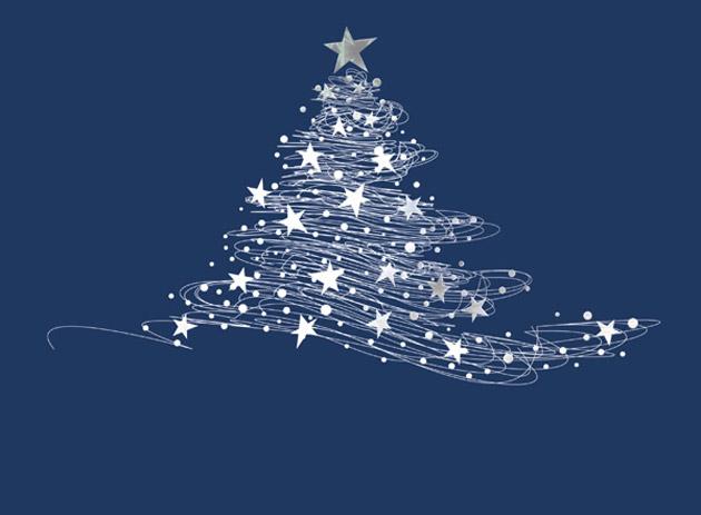 Starry Tree Contemporary Christmas Cards