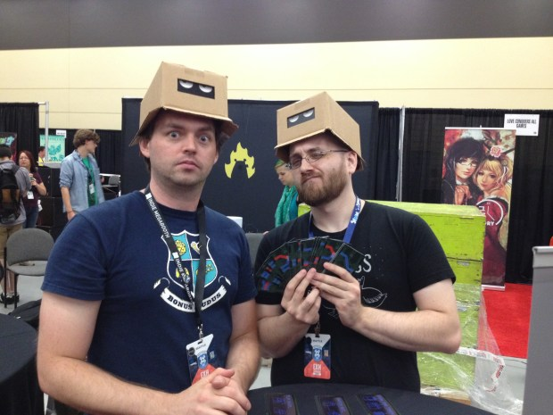 Anthony Amato with Peter Newland of Mind the Gap Studios, in the Indie MEGABOOTH with Wizard Dodgeball