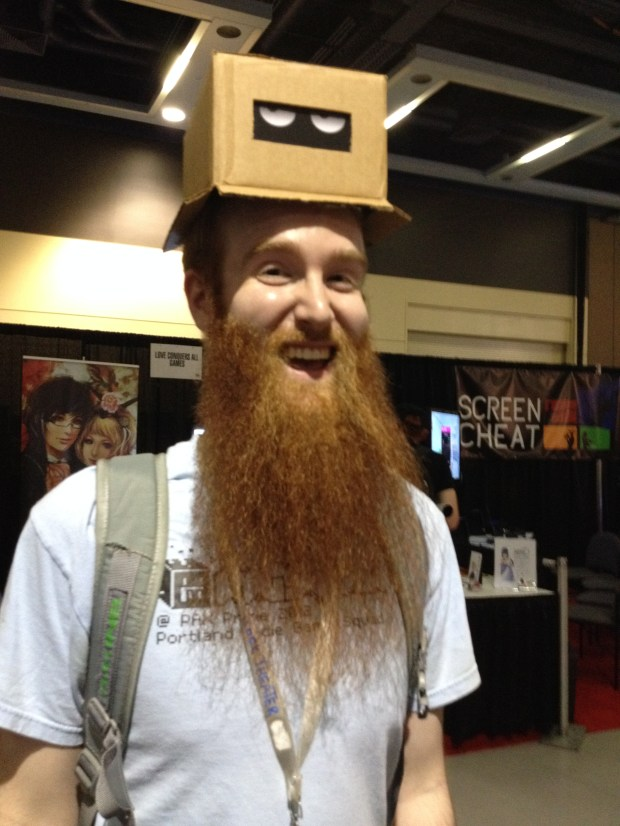 PIG Squad Lead Community Organizer Will Lewis sporting one of the much coveted Cardboard Fortress hats