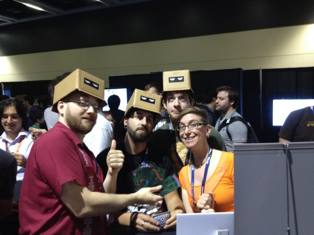 One of our superfans from last year, who demoed the game in the hall after hours! He's the one making crazy faces over Nicole's head.