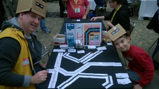 Our friend Tom Roache and his son playing Lazer Ryderz