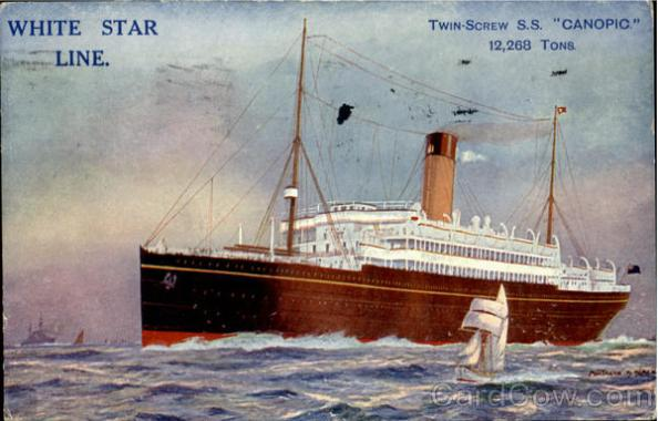 White Star Line Canopic Old Postcard