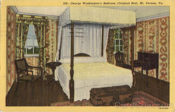 George Washingtons Bedroom Original Bed Mount Vernon VA