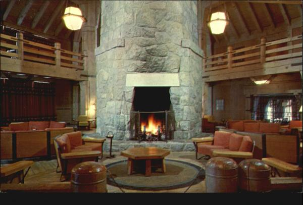 Fireplace In Lobby Of Timberline Lodge Mount Hood OR