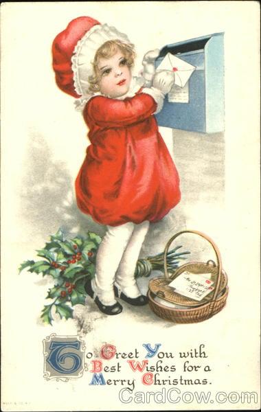Girl Mailing Christmas Cards Children