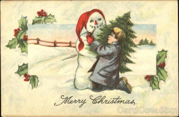 Boy with Snowman Antique Postcard