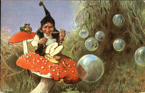 Gnome Blowing Bubbles Frogs