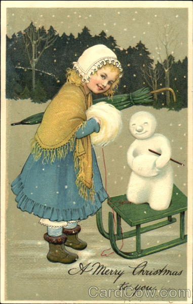 Small Girl In Snow With Sled Snowmen