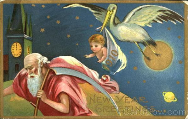 1910 New Year Greetings Antique Postcard