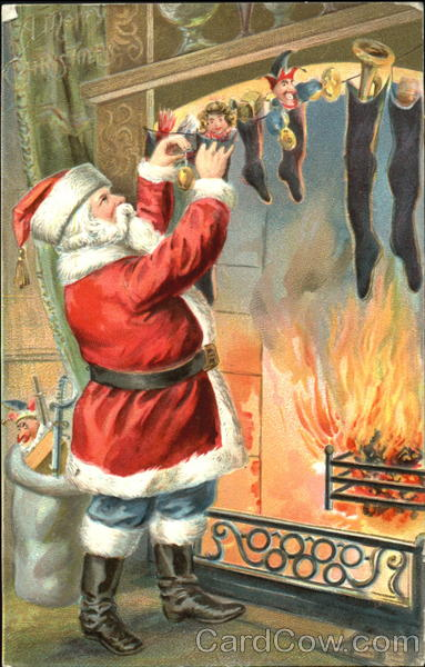 Santa Filling Stocking by a Fireplace Santa Claus