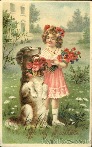 Girl With Sitting Dog Holding Flowers Animals