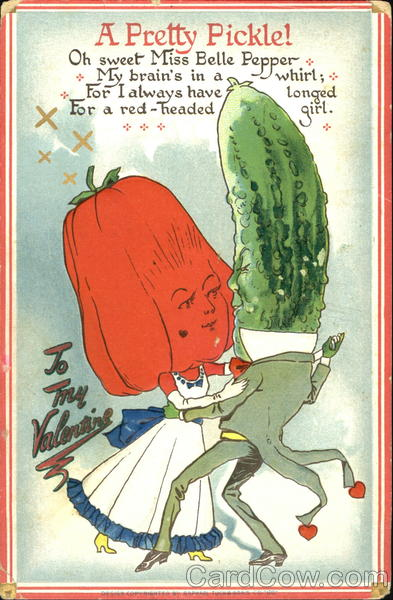 A Pickle Head Man Dancing With A Bell Pepper Head Girl Fantasy