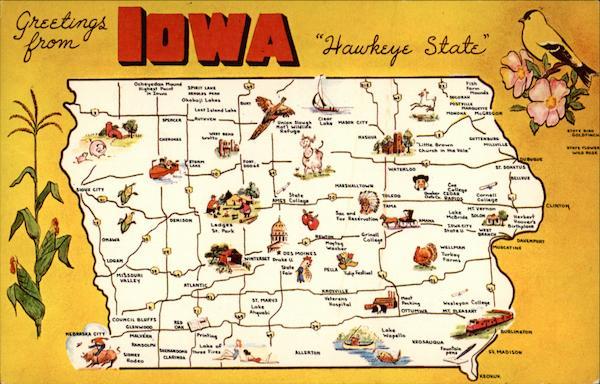 Greetings from Iowa quotHawkeye Statequot Maps