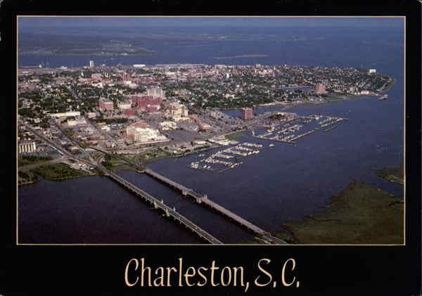 Aerial View Across The Ashley River Charleston Sc