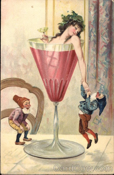 Lady In A Wine Glass With Elves Beautiful Ladies