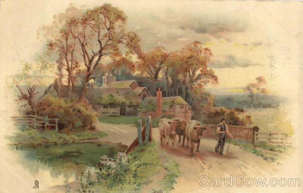 Rustic Farm Scene Cows Farmer Cows Amp Cattle