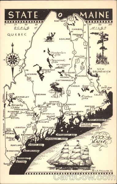 Map of the State of Maine Maps