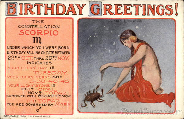 Birthday Greetings Scorpio Astrology & Zodiac