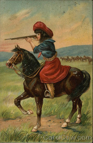 Girl Sitting on a Horse While Holding a Rifle  Annie Oakley Cowboy Western
