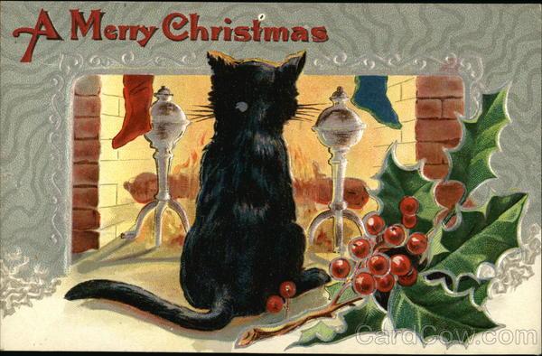 stara kartka bożonarodzeniowa, kot przed kominkiem