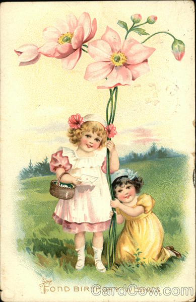 """Fond Birthday Wishes"" Two Young Girls With Large Pink"