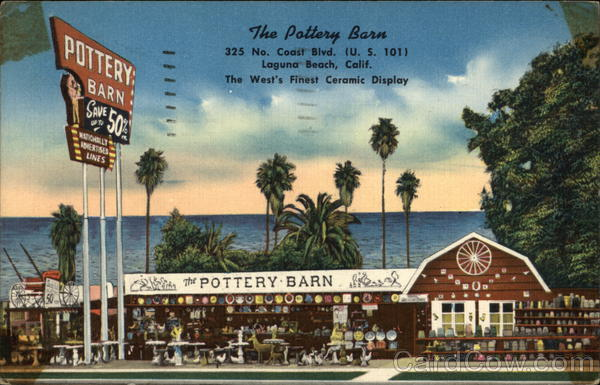 The Pottery Barn Laguna Beach CA Postcard