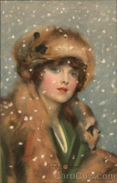 Woman Wearing Furs Snow Falling Artist Signed Postcard