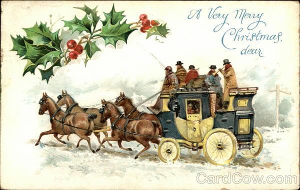 Coach Amp Horses And Holly Christmas Postcard